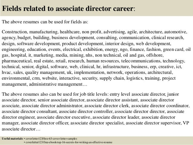 Top 5 associate director cover letter samples