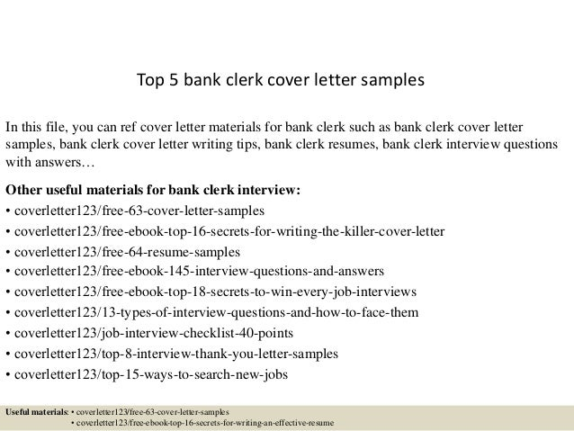 Top 5 Bank Clerk Cover Letter Samples In This File You Can Ref