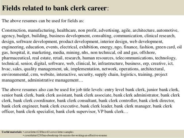 Job application letter bank clerk