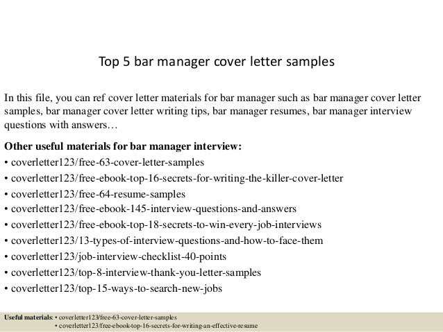 Bar Manager Cover Letter