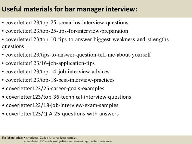 13 useful materials for bar manager bar manager cover letter