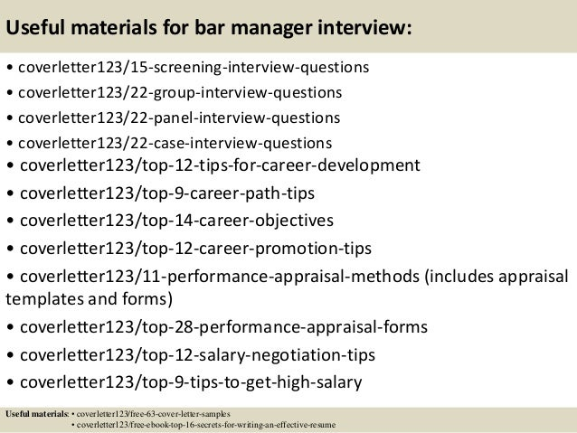15 useful materials for bar manager bar manager cover letter