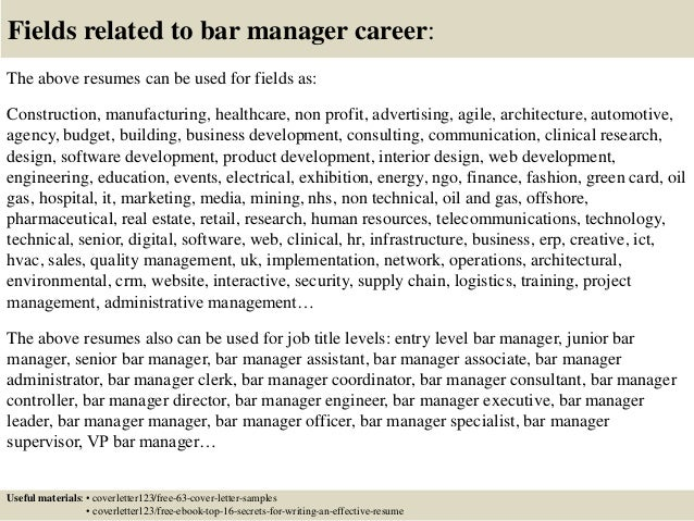 Top 5 bar manager cover letter samples