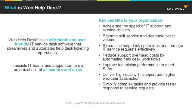 Web Help Desk® is an affordable and user- friendly IT service desk software that streamlines and automates help desk ticke...