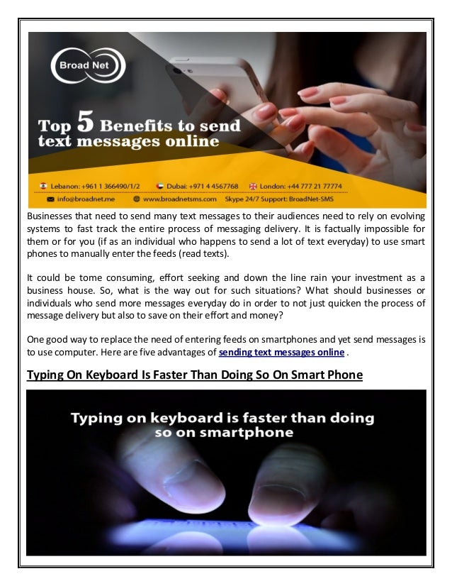 Top 5 Benefits to send text messages online