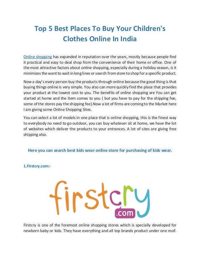 Top 5 best places to buy your children 39 s clothes online in for Great places to shop online