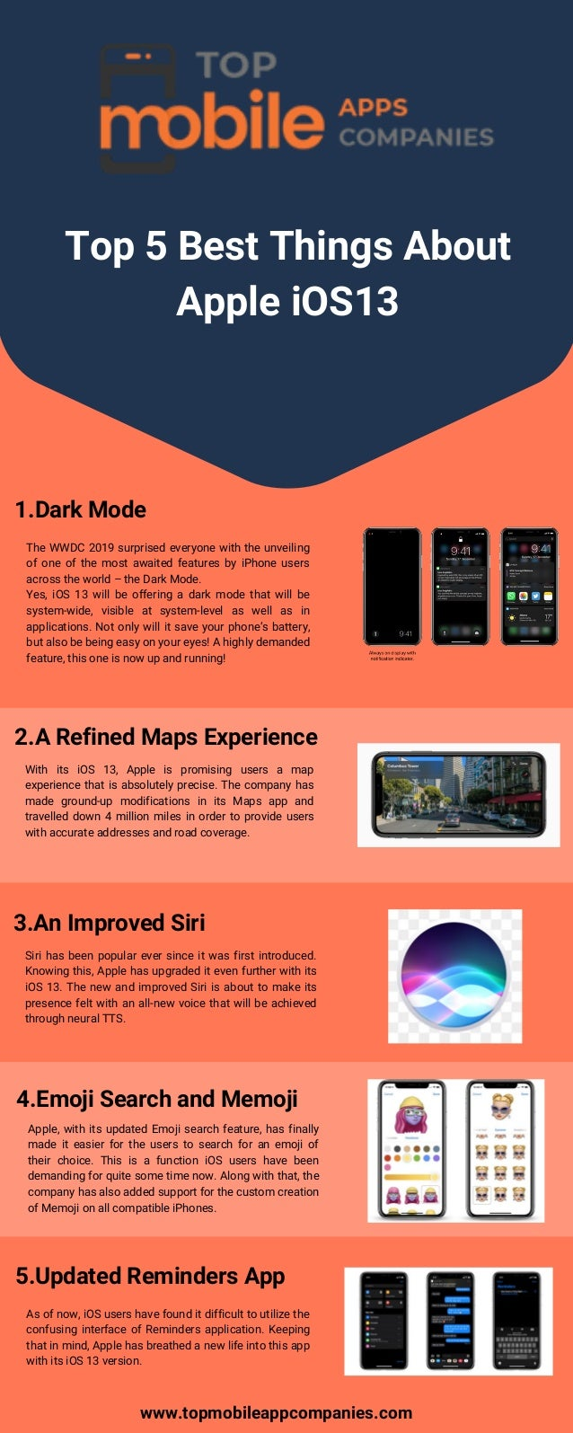 Top 5 best things about apple ios13 Top mobile app companies
