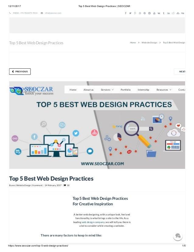Top 5 Best Web Design Practices Seoczar