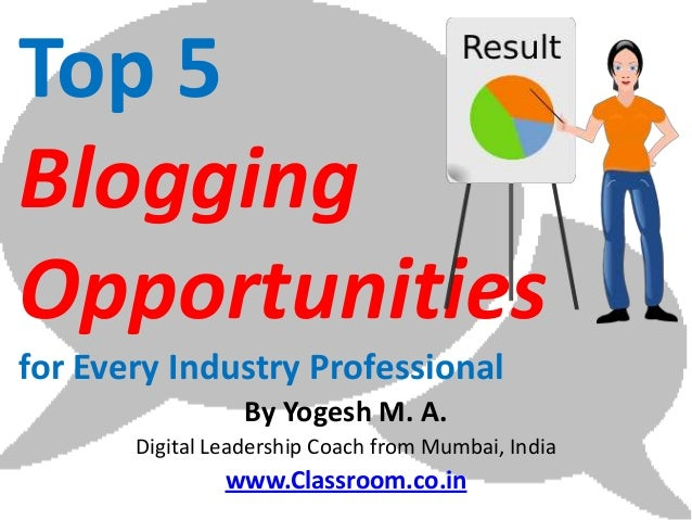 Top 5BloggingOpportunitiesfor Every Industry Professional                  By Yogesh M. A.       Digital Leadership Coach ...