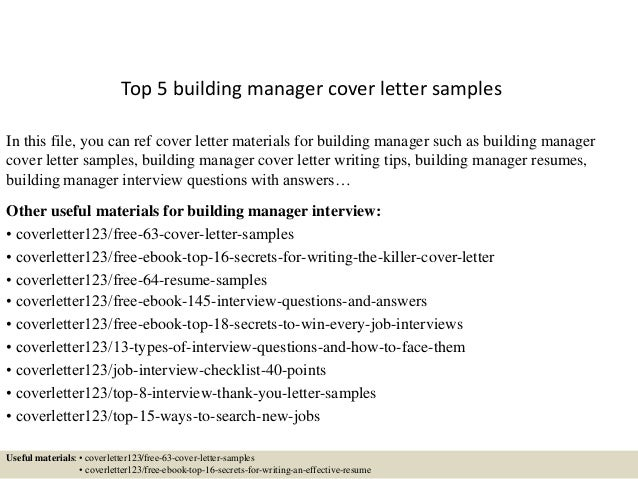 Top 5 Building Manager Cover Letter Samples In This File, You Can Ref Cover  Letter ...