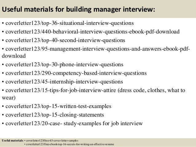 ... 12. Useful Materials For Building Manager ...