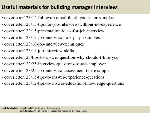 ... 14. Useful Materials For Building Manager ...