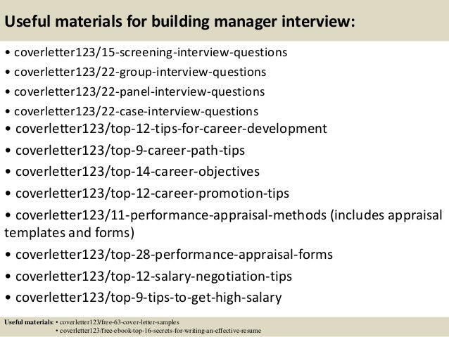 ... 15. Useful Materials For Building Manager ...