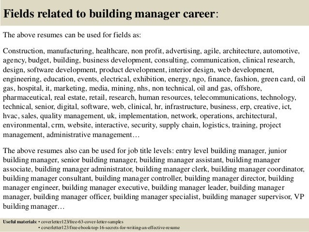 ... 16. Fields Related To Building Manager ...