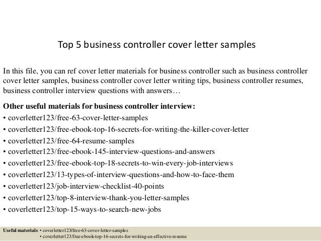 Controller Cover Letter. Top 5 Business Controller Cover Letter