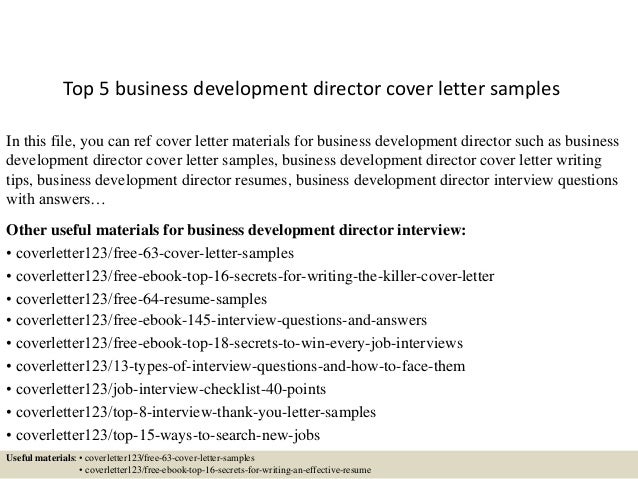 Top 5 Business Development Director Cover Letter Samples In This File, You  Can Ref Cover ...