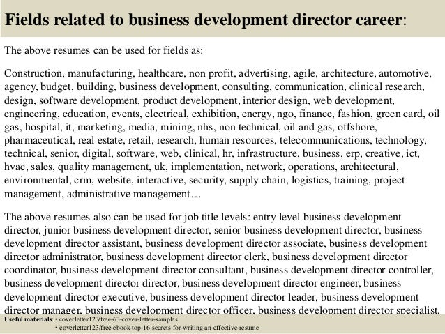 ... 16. Fields Related To Business Development Director ...