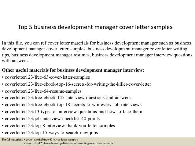 Top 5 Business Development Manager Cover Letter Samples In This File, You  Can Ref Cover ...