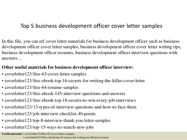 Top 5 Business Development Officer Cover Letter Samples