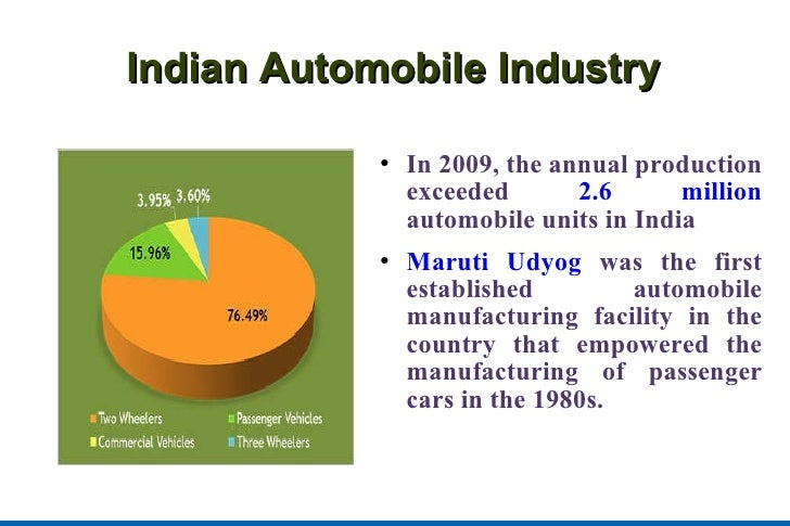 Indian Automobile Industry <ul><li>In 2009, the annual production exceeded  2.6 million  automobile units in India </li></...