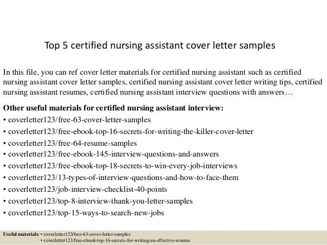 Cna Cover Letter Top 5 Certified Nursing Assistant Cover Letter