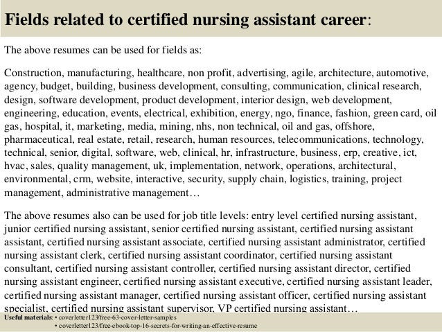 cover letter certified nursing assistant