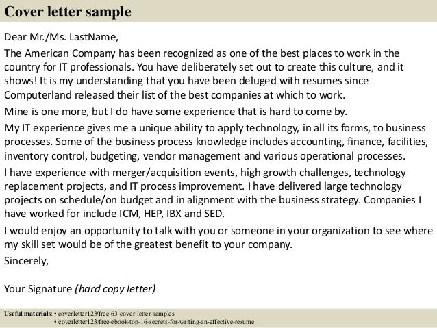 7 - Cover Letter To Company