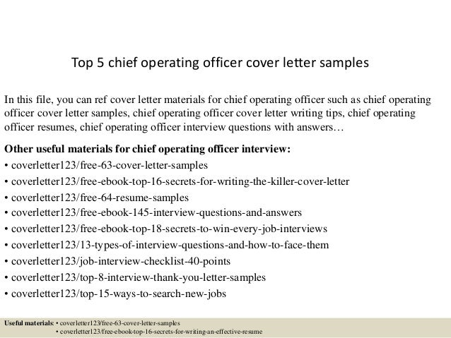 top 5 chief operating officer cover letter samples
