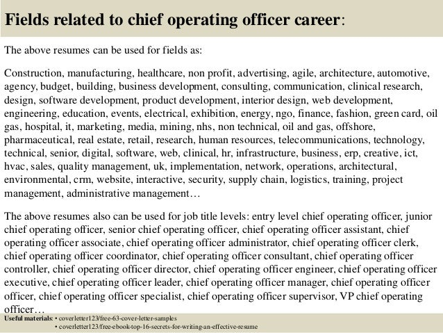 resume chief operating officer