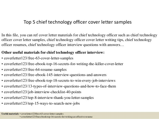 top 5 chief technology officer cover letter samples in this file you can ref cover