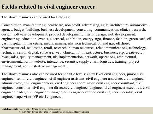 Top  Civil Engineer Cover Letter Samples
