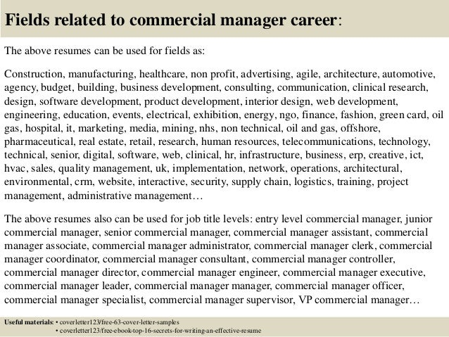 Marvelous ... 16. Fields Related To Commercial Manager ...