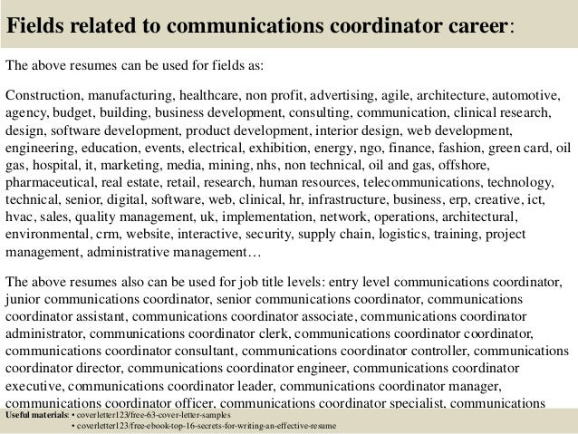 ... 16. Fields Related To Communications ...