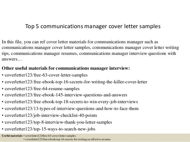 Communications Executive Cover Letter