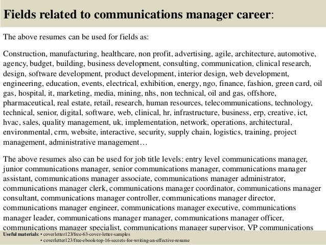 Top 5 communications manager cover letter samples