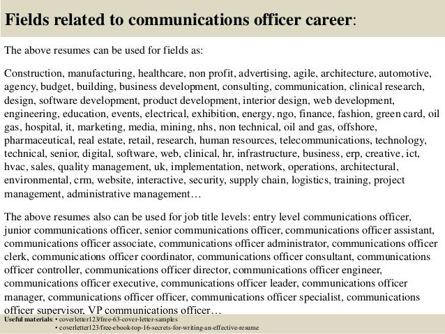 Top  Communications Officer Cover Letter Samples