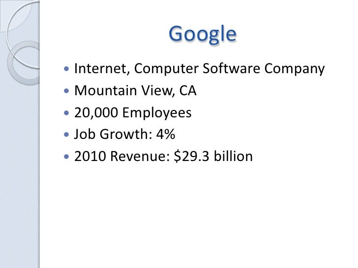 Google<br />Internet, Computer Software Company<br />Mountain View, CA<br />20,000 Employees<br />Job Growth: 4%<br />2010...