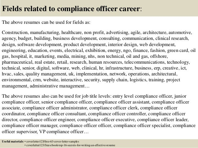 16 Fields Related To Compliance Officer