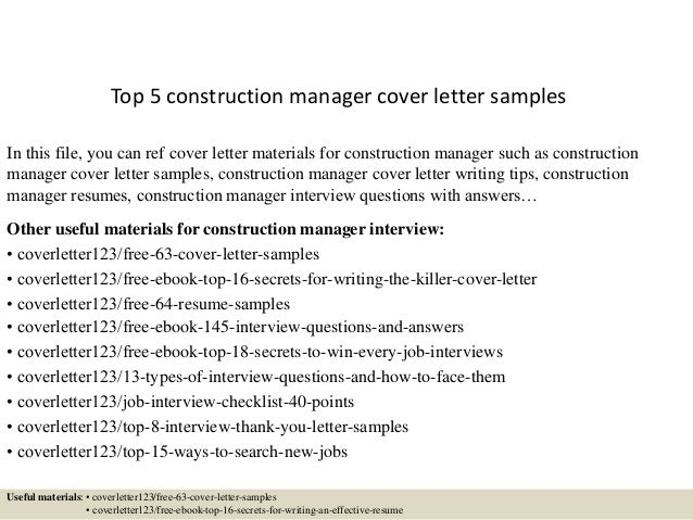 top 5 construction manager cover letter samples in this file you can ref cover letter - Construction Management Cover Letter Examples