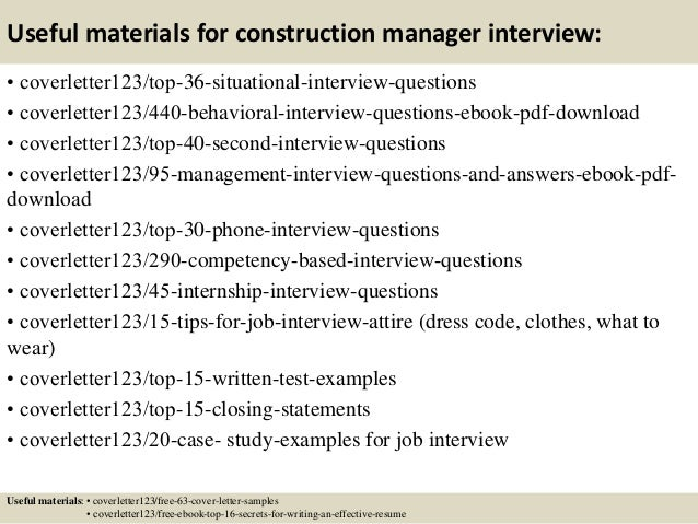 12 useful materials for construction manager - Construction Management Cover Letter Examples