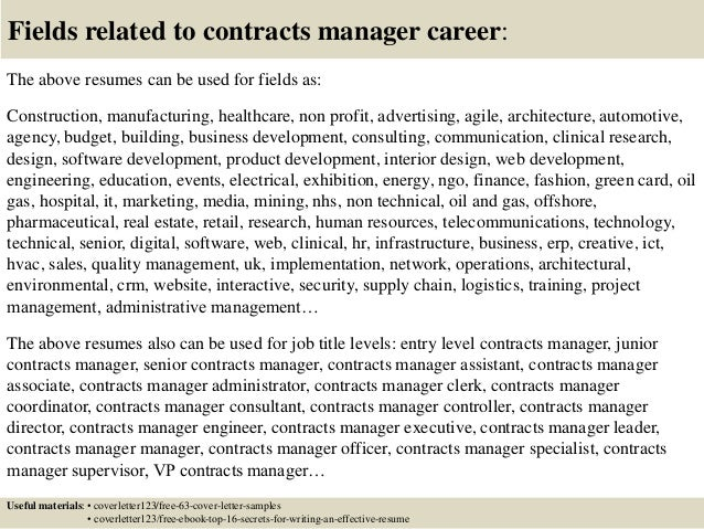 top 5 contracts manager cover letter samples