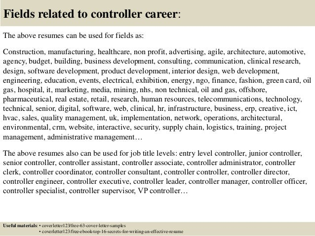 Top 5 Controller Cover Letter Samples