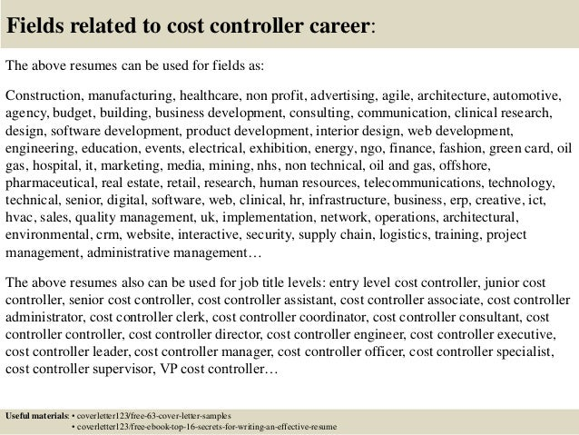 Top 5 cost controller cover letter samples