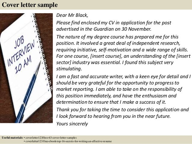 cover letter sample - Writing A Creative Cover Letter