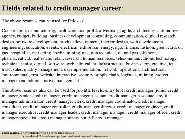 credit manager cover letter - Selo.l-ink.co
