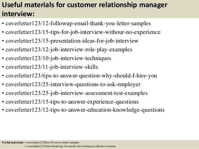 Top 5 customer relationship manager cover letter samples