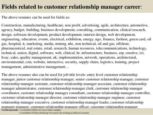 Superb Customer Relationship Officer Sample Resume Top 100 Customer Relationship  Manager Cover Letter Samples 42