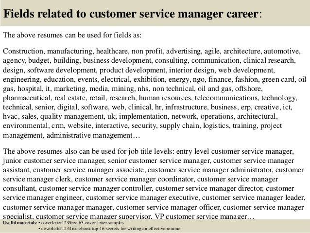 16 fields related to customer service manager