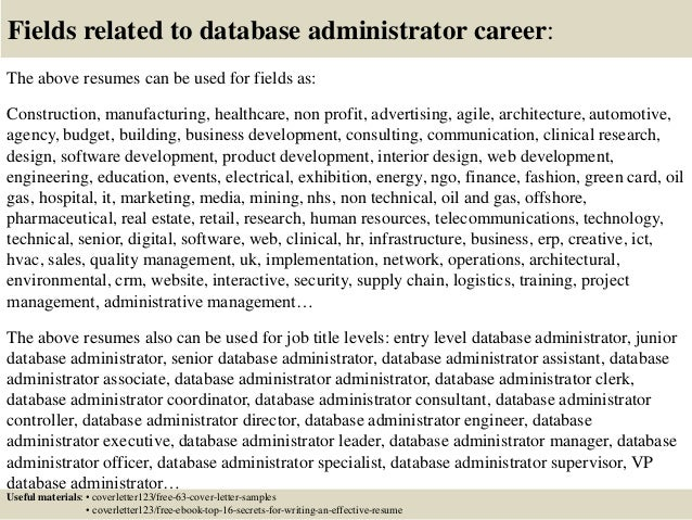 Top  Database Administrator Cover Letter Samples