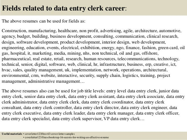 ... 16. Fields Related To Data Entry Clerk ...